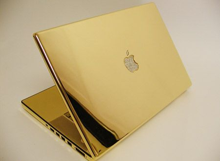 24kt Gold Macbook with Diamond Apple Logo