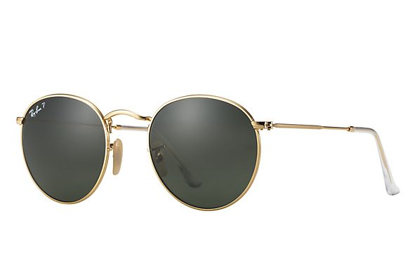 Ray-Ban 0RB3447-ROUND METAL Gold SUN http://www.thesterlingsilver.com/product/ray-ban-womens-polarized-highstreet-rb4075-64257-61-brown-rectangle-sunglasses/