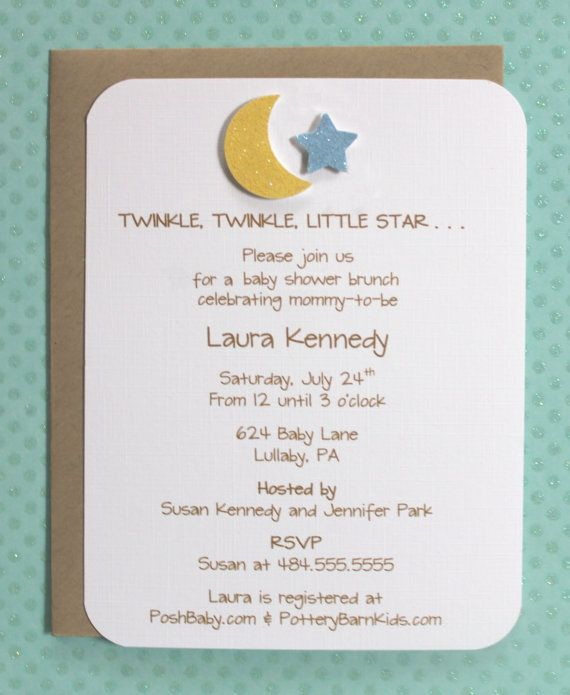 Twinkle Twinkle Little Star Baby Shower Invitation   Glitter Moon And Star  First Birthday Party Invitations