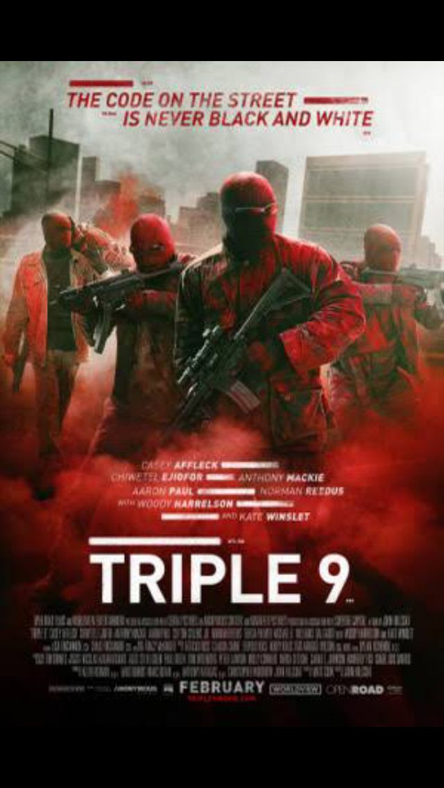 I saw a poster advertising this movie for release next month ( Triple nine ) assume by this poster that premise of movie is people conducting unlawful behaviour ( better to call it TREBLE nine ? ) or can you phone Triple nine ? ( can anyone out there be bothered to google whether Treble refers solely to numbers ie as we say '' Call TREBLE nine !!'' = But think THINGS can be referred to as Triple ie 'triple points off stuff this week !!' As say can't be arsed to google it myself - just sayin…