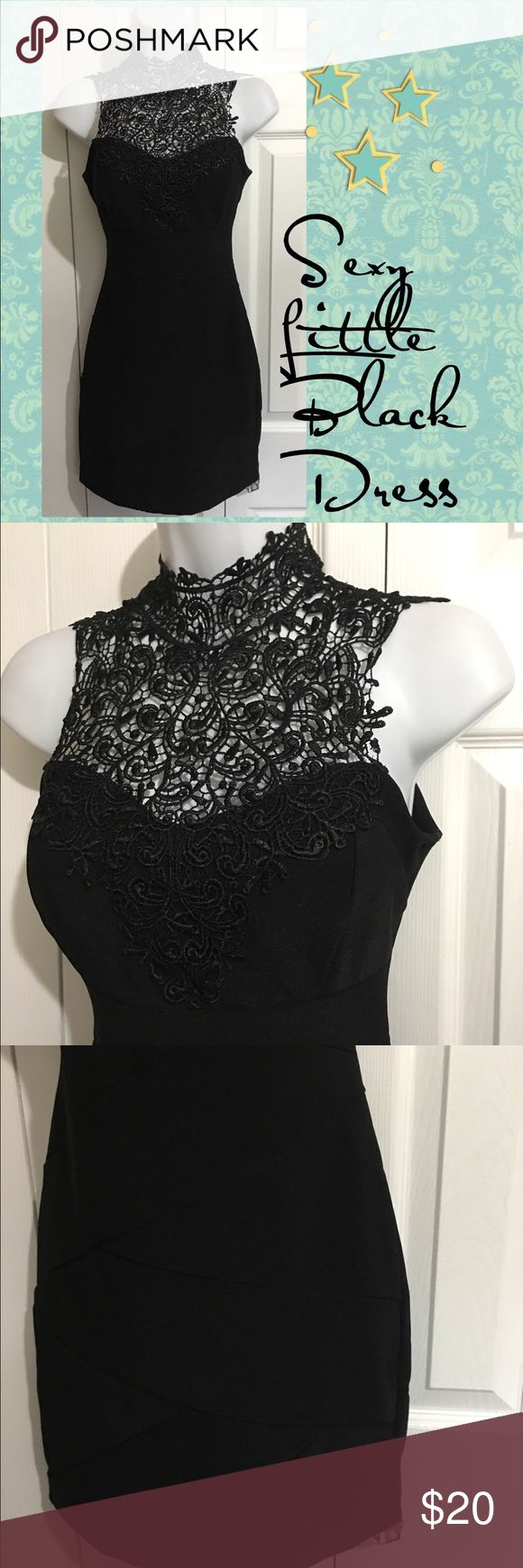 WINDSOR Sexy Little Black Dress SMALL WINDSOR  Sexy Little Black Dress  Size SMALL please see measurements as sizing and fit differs due to manufacturer, body shape and style.  Great for Career, cocktail or Event Wear This is a sexy dress that ties at the back neck and is open in back-see pictures. The bust is lightly padded.  Measurements taken laying flat 