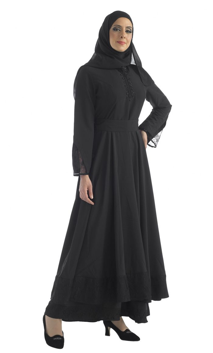 Layered Abaya with accent beadwork on neck.