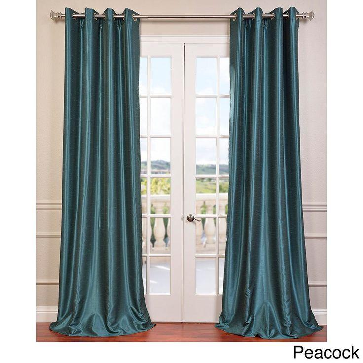 Exclusive Fabrics Textured Dupioni Faux Silk 108-inch Blackout Grommet Curtain Panel – 50 x 108