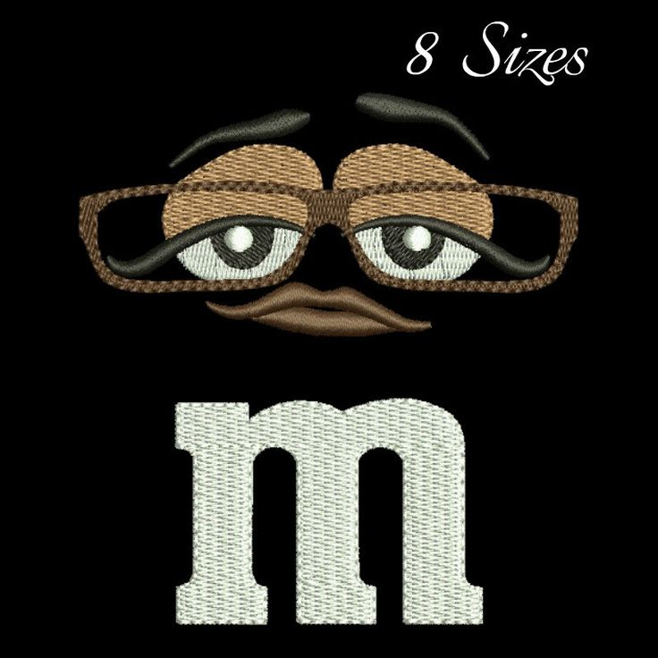 M&M face embroidery Design,Ms.Brown machine embroidery design,digital download, face design by GretaembroideryShop on Etsy