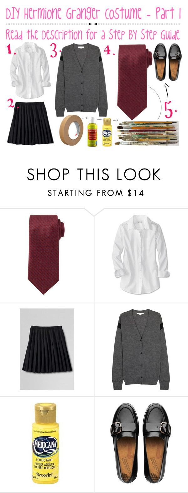 """""""Hermione Granger - DIY Costume - Part 1"""" by anushajean13 ❤ liked on Polyvore featuring Brioni, Lands' End, Alexander Wang, FitFlop, harrypotter and halloweenwithanushajean"""