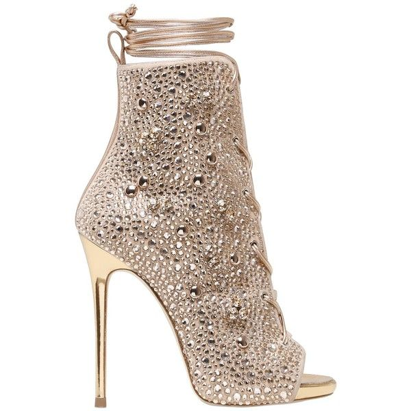 Giuseppe For Jennifer Lopez Women 120mm Swarovski & Studs Leather... (£2,515) ❤ liked on Polyvore featuring shoes, boots, heels, footwear, rose gold, high heeled footwear, giuseppe zanotti boots, laced boots, laced up boots and studded boots