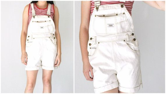 white DENIM overalls shorts vintage early 90s by onefortynine