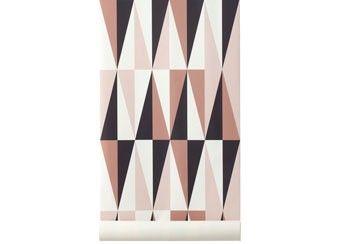 roze grafisch behang 'spear' Ferm Living | kinderen-shop Kleine Zebra