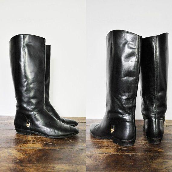 Vintage ETIENNE AIGNER Black bottes d'équitation en cuir, Sz. 7