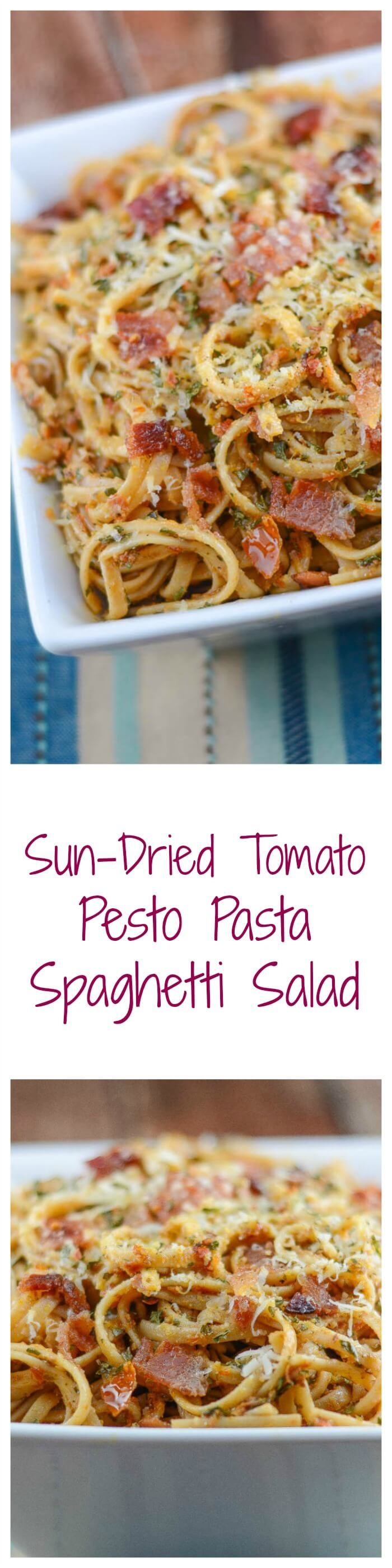 This Sun-Dried Tomato Pesto Pasta recipe, with spaghetti, sun-dried tomato pesto, bacon, and parmesan cheese makes a great spaghetti salad for a picnic. ~ http://FlavorMosaic.com