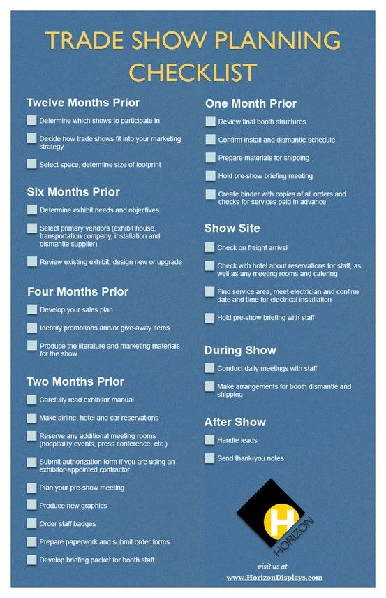 Trade Show Planning Checklist provided by Horizon Displays