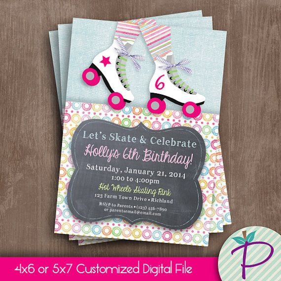 Roller Skate Invitation Roller Skating Birthday by punkinprints