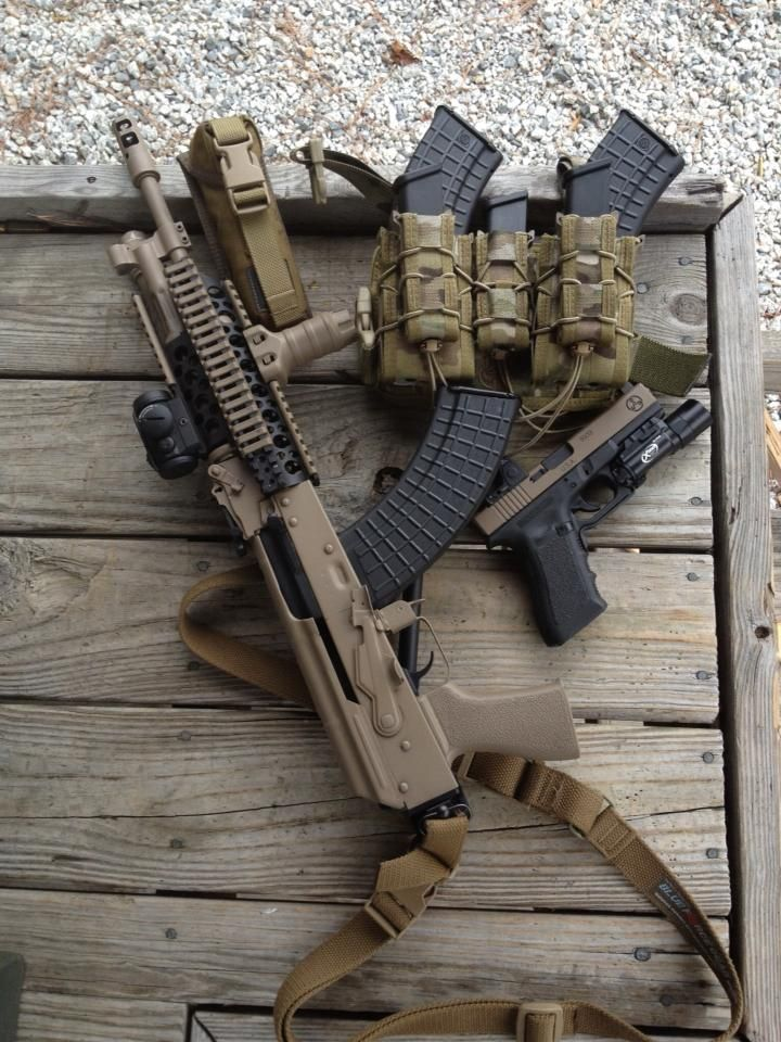 Manly Things, ak variant, no stock, three magazines, a glock 18, and magazines in their pouches.