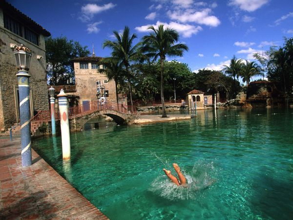 Coral Gables 39 Venetian Pool Spring Fed Filled And Drained Daily In Spring And Summer