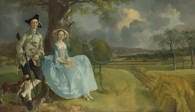 This portrait is the masterpiece of Gainsborough's early years. It was painted after his return home from London to Suffolk in 1748, soon after the marriage of Robert Andrews of the Auberies and Frances Carter of Ballingdon House, near Sudbury, in November of that year. http://www.nationalgallery.org.uk/paintings/thomas-gainsborough-mr-and-mrs-andrews