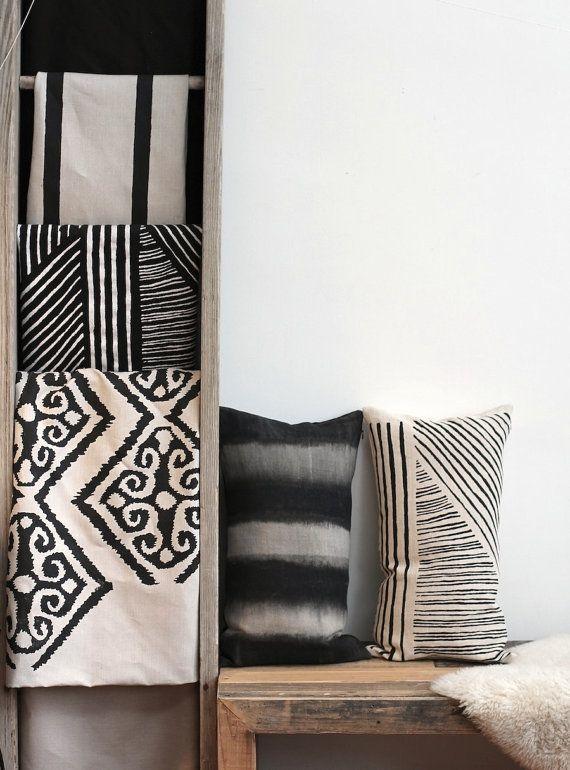 white black grid stripes 18 Karnataka offset hand printed lumbar pillow by ChaneeVijayTextiles, $70.00