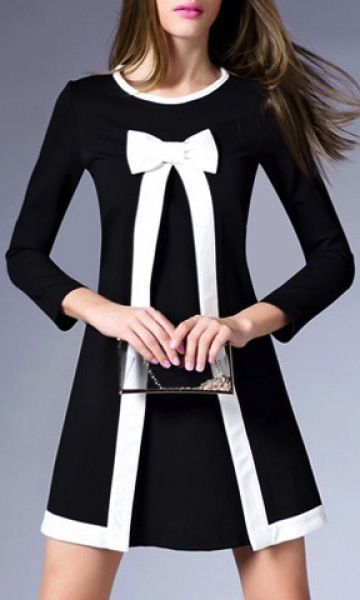 Graceful 3/4 Sleeve Round Collar Bowknot Embellished Women's A-Line Dress