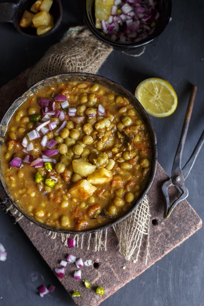 Dried Green Peas curry on a rustic setting
