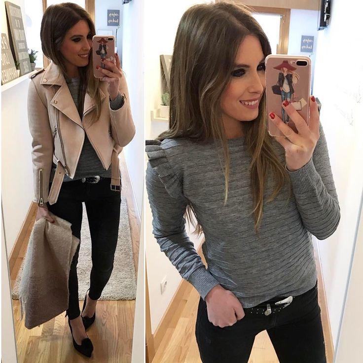 """2,314 Me gusta, 58 comentarios - Estibaliz Prieto (@__esti__) en Instagram: """"🙋🏼🙋🏼 Biker @zara (new) Jersey @ur_moda (new) 👉🏾20% de descuento con el código love Jeans…"""""""
