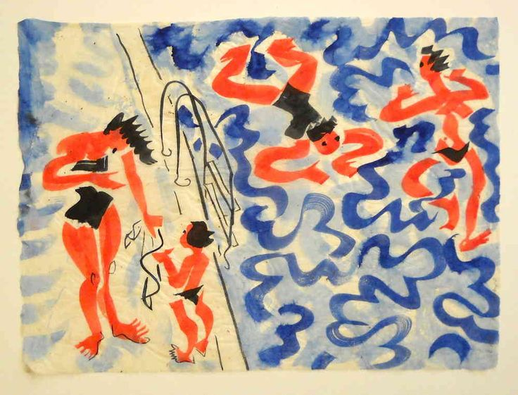 Painting, swimmingpool