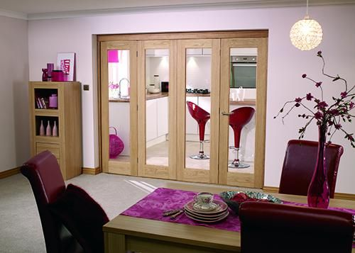 Glazed Oak P10 Roomfold - Clear: Unfinished Internal Folding Door