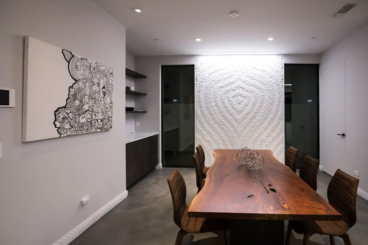 modern black and white interior with wood table