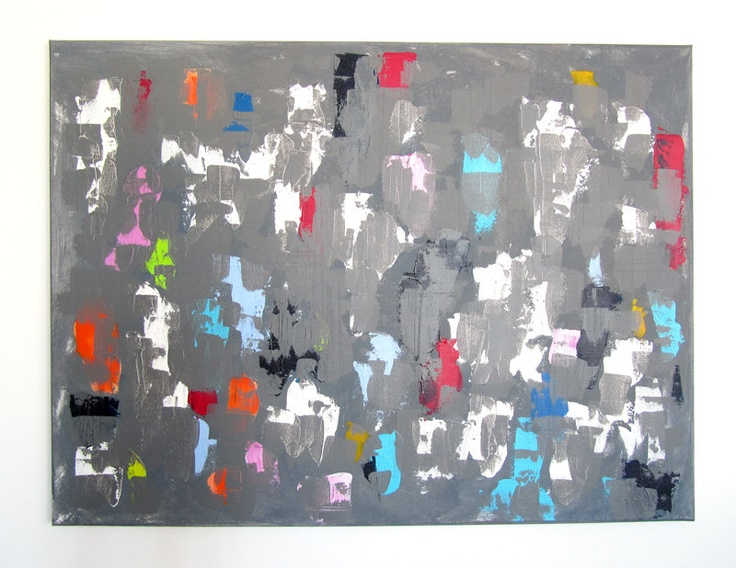 "No. 43 - Modern Abstract Painting 31.5"" x 23.5"" on regular 3/4"" depth canvas - (Grey and multicolour). $150.00, via Etsy."