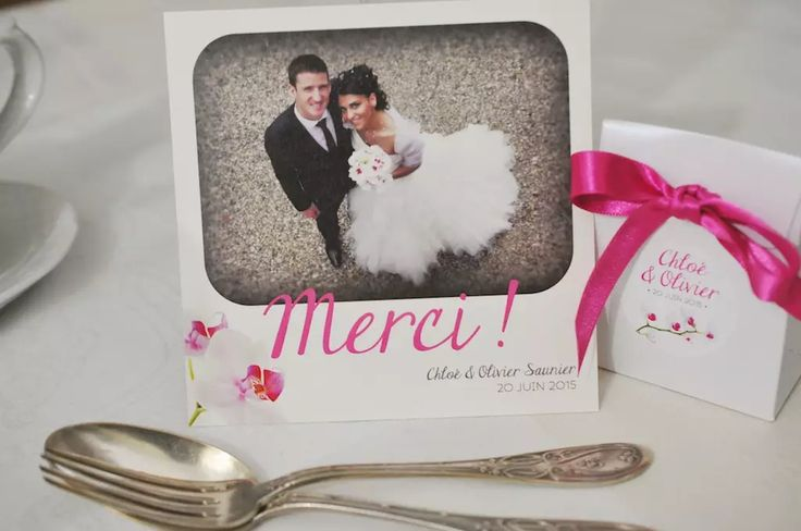 Carton de remerciement mariage rose fuchsia Orchidée
