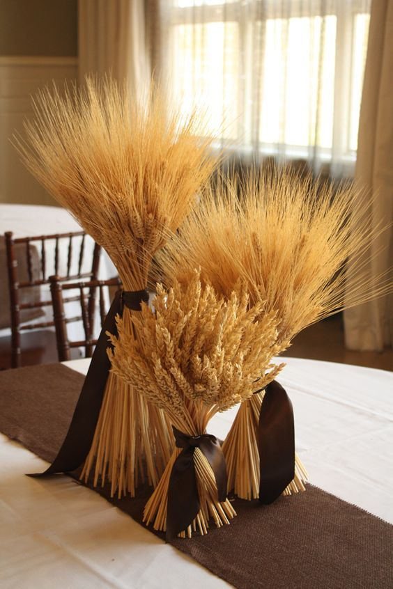 Pollen Floral Art, wheat sheafs, grouping of 3, tied with brown ribbon wedding centerpiece / http://www.deerpearlflowers.com/wheat-wedding-decor-ideas/