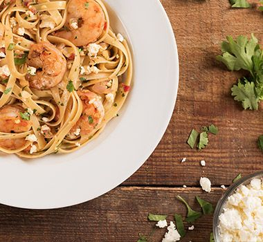Starring fresh Atlantic shrimp, this quick and easy seafood pasta recipe takes under 30 minutes to make and only seconds to enjoy.