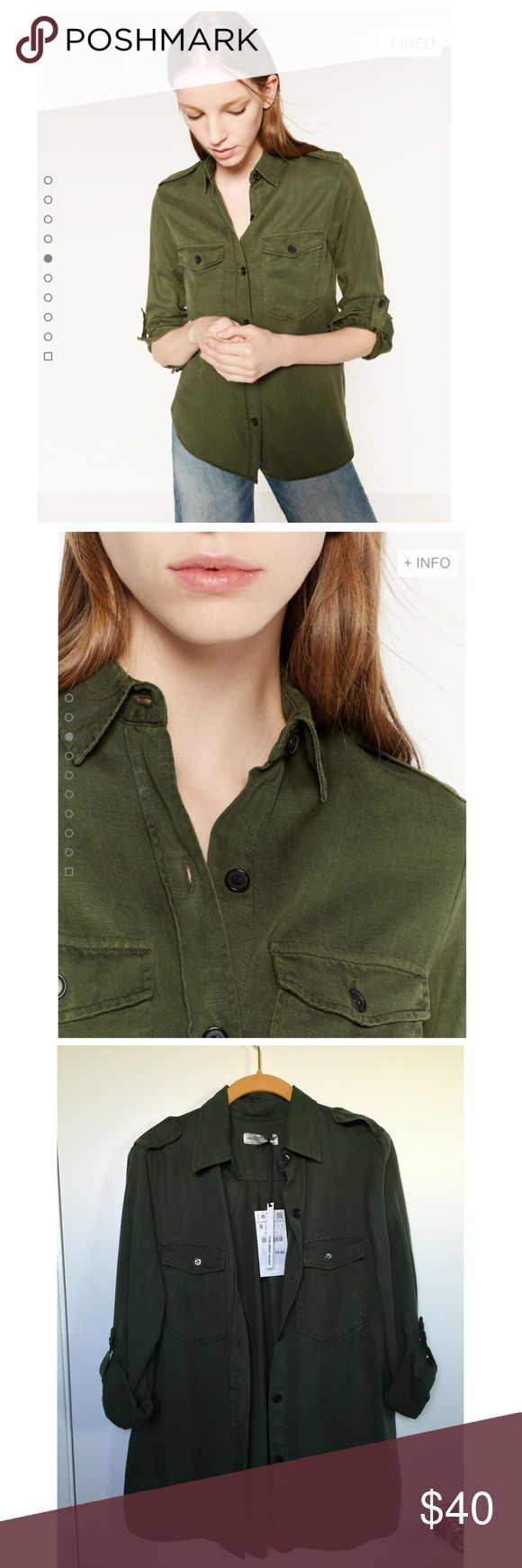 NWT Zara Military Style Shirt On-trend military style shirt in the perfect shade of green and made from soft, drapey lyocell.  Only tried on, never worn, NWT.  Feel free to comment with any questions--thanks for looking! ❤️ Zara Tops Button Down Shirts