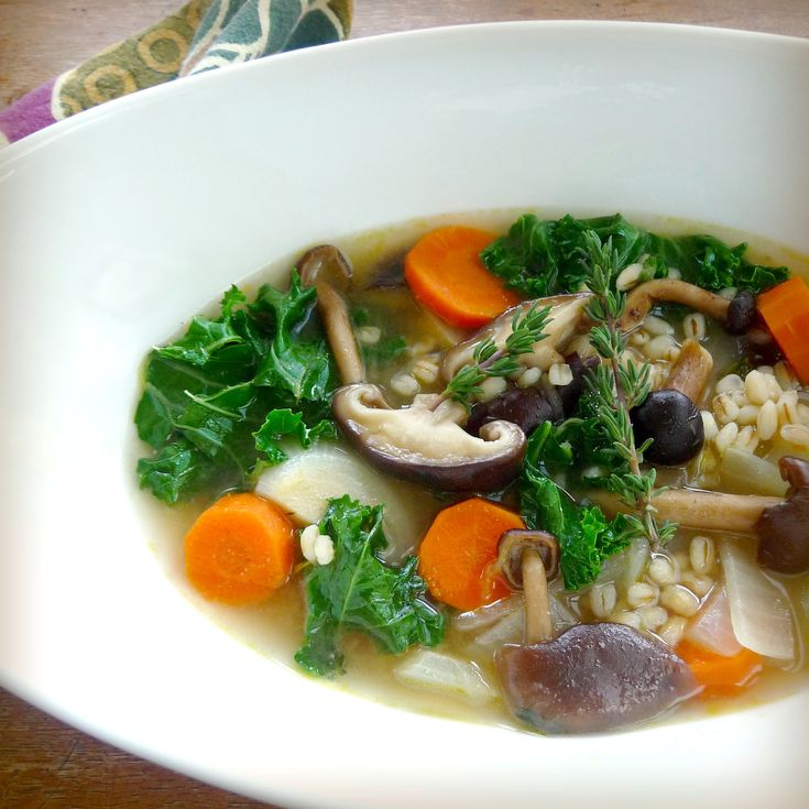 Mushroom Barley Soup with Miso and Kale | Soup | Pinterest