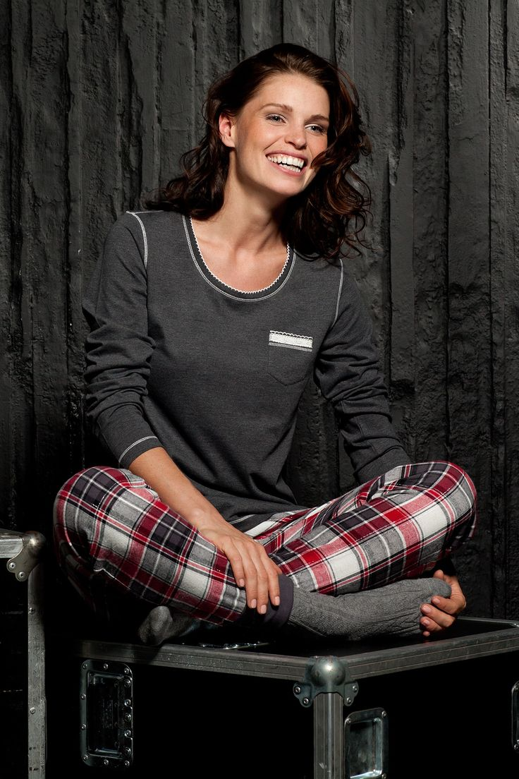 Mix it up a little with Rebelle - go for a chunky red and black checked flannel bottoms with a slim fittng long sleeved top with pretty trim to keep you warm and comfy this winter!