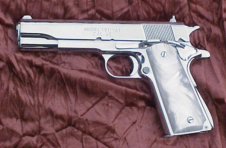 All chrome 45 handgun! Great man stuff Pinterest