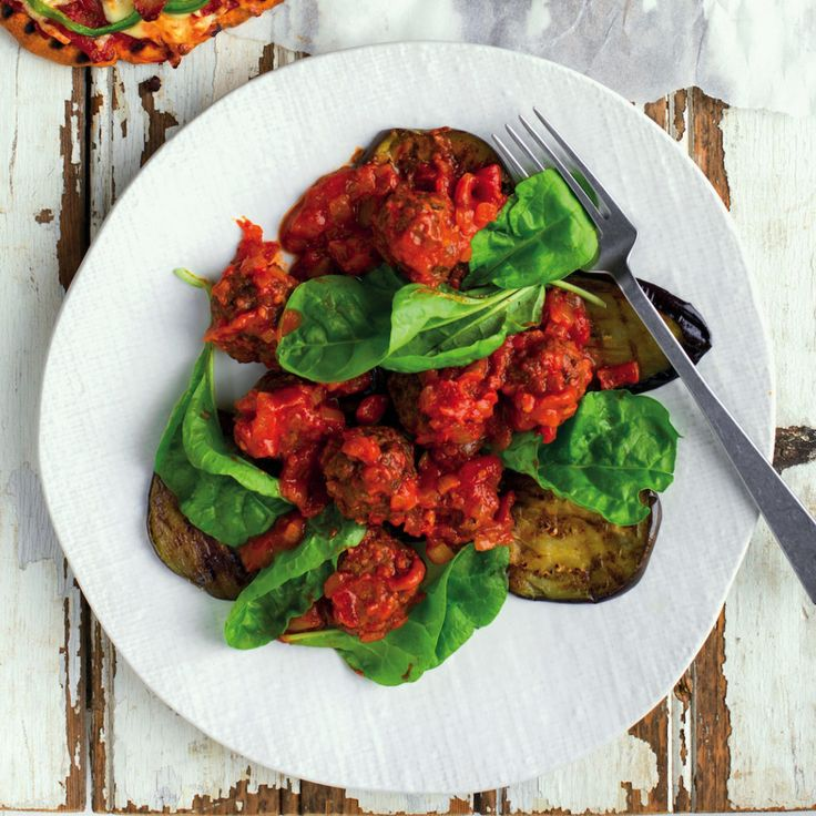 Moroccan meatballs with chargrilled brinjals
