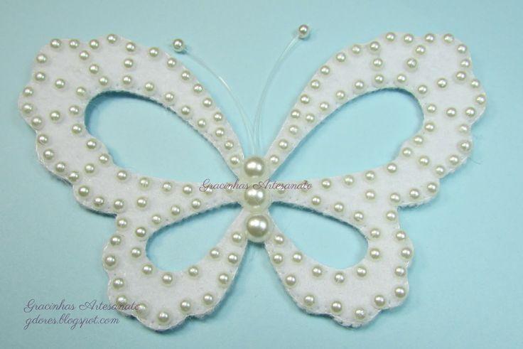 Beaded felt butterfly