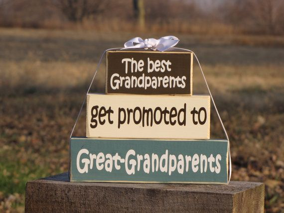 Gift for Great Grandma & Great-Grandpa    Grandparents Day Wood Block Stack: The Best Grandparents Get Promoted to Great-Grandparents- Perfect