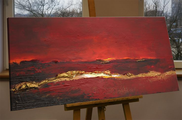 Hand painted art waiting for new owner! Intense red with golden trail will add artistic glamour touch to your home