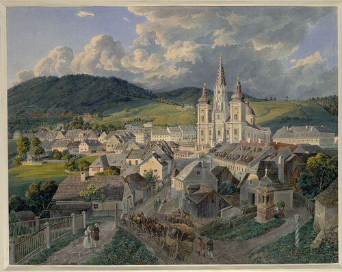 Eduard Gurk, Mariazell vom Annaberg (Guckkastenblatt), um 1833 © Albertina, Wien