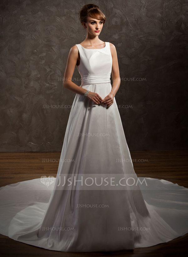 Forme Princesse Col rond Traîne watteau Taffetas Robe de mariée avec Plissé (002011646) - JJsHouse