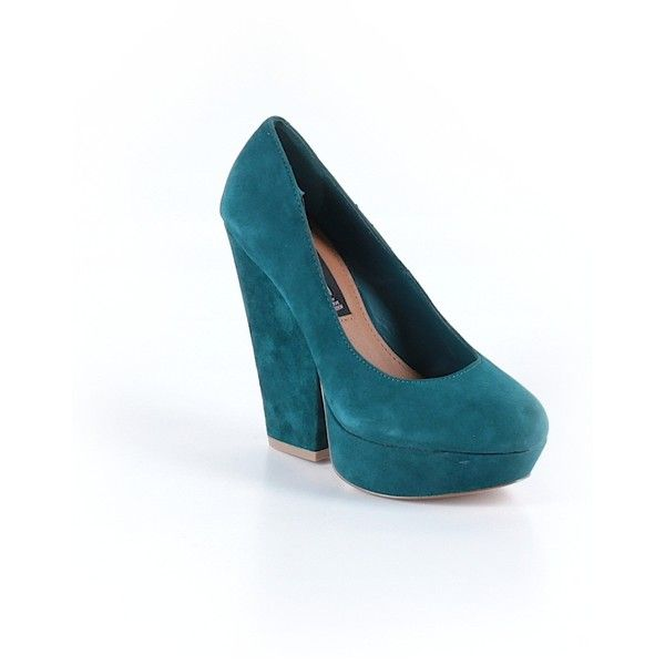 Steve Madden Wedges ($27) ❤ liked on Polyvore featuring shoes, teal, steve madden shoes, teal blue shoes, steve madden footwear, teal wedge shoes and wedges shoes