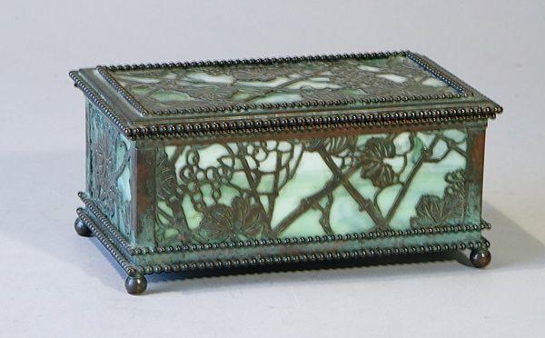 Louis Comfort Tiffany - Grapevine Box. Patinated Bronze with Glass. Circa 1900.