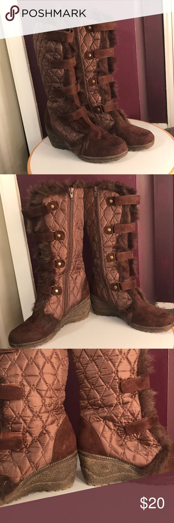 Brown zip up heel boots Size 7 Worn once, like new!! Fusion Brown zip up heel boots- gold buckles, brown straps (Velcro) fur and 2 inch wedge heel Size 7 Fusion Shoes Heeled Boots