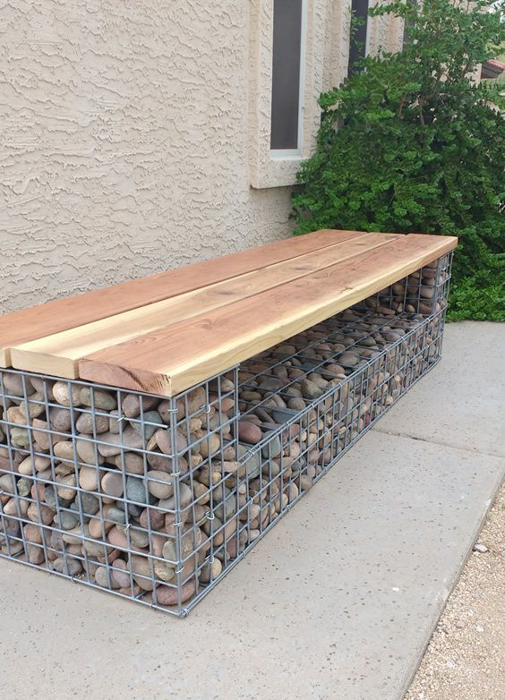 Gabion Bench Seat In 2019 Diy Garden Decor Backyard