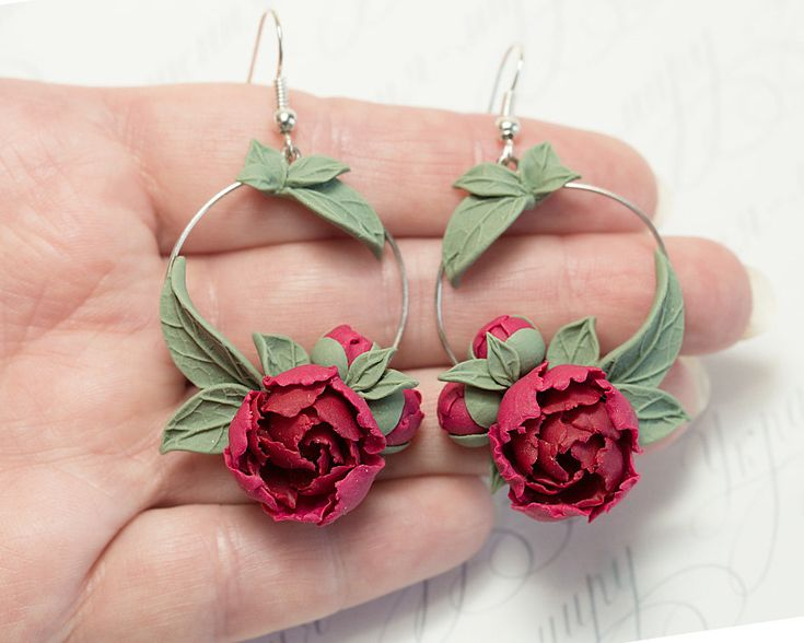 Red peony Earrings. Burgundy flowers by JewelleryForWorld on Etsy