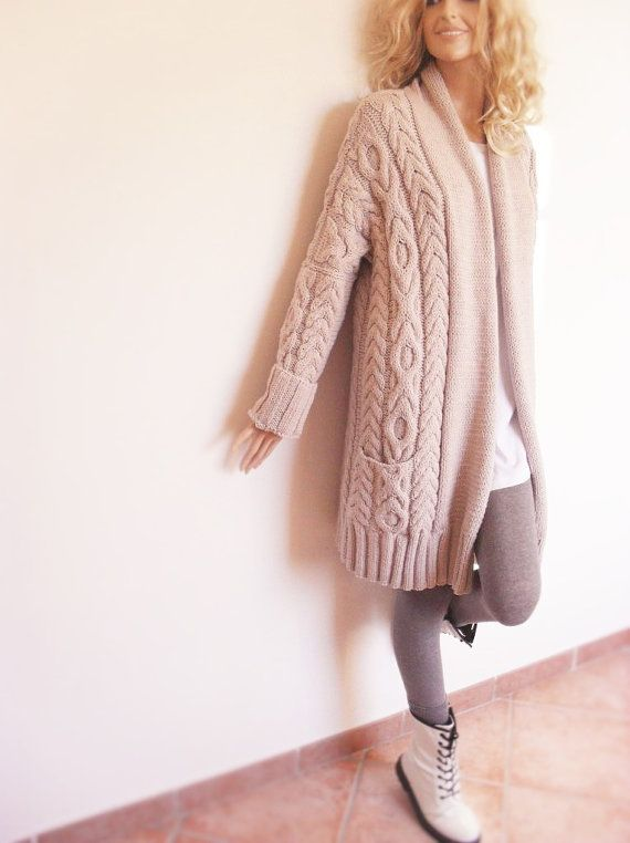 Womens long, cable knit  cardigan. Jacket coat with wide shawl collar and allover cable pattern has also pockets. Hand knitted by PillandPattern.