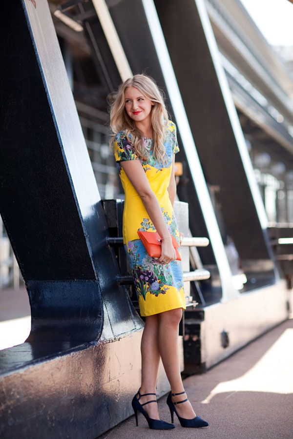: Fashion Shoes, Pretty Prints, Yellow Dresses, Habitu Chic, Style Inspiration, Harpers Bazaars, Street Style, Flowers Power, Bold Colors