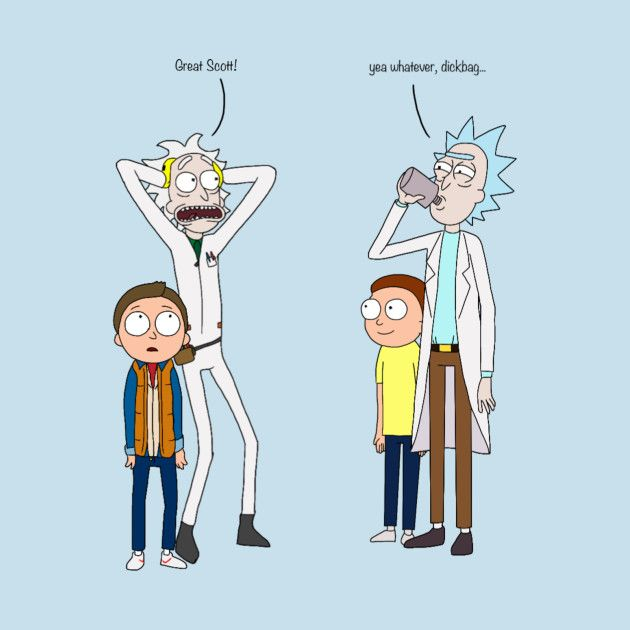 Doc and Marty meet Rick and Morty by thedoctor