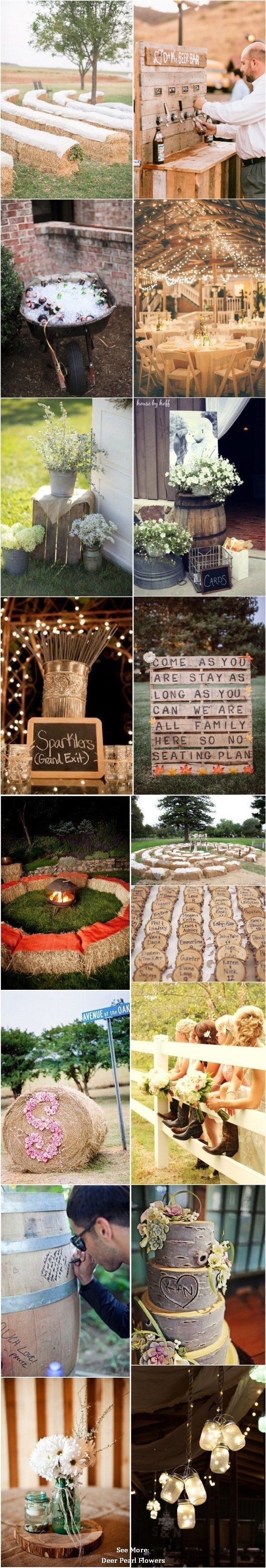 Hay Bale Benches + Beer Tap + Wagon Cooler + Lavender Decor + Sparkler Exit = Perfect Rustic Insop