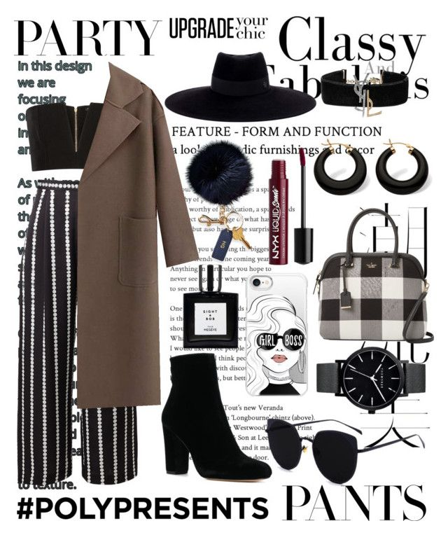 """""""#PolyPresents: Fancy Pants"""" by trishsa on Polyvore featuring Hemingway, Balmain, Maison Michel, Kate Spade, Charlotte Russe, Yves Saint Laurent, Casetify, Mark & Graham, Palm Beach Jewelry and contestentry"""